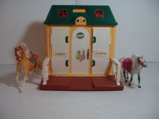 Chestnut Ridge Horse Riding Stable Two Horses with Saddles Folding
