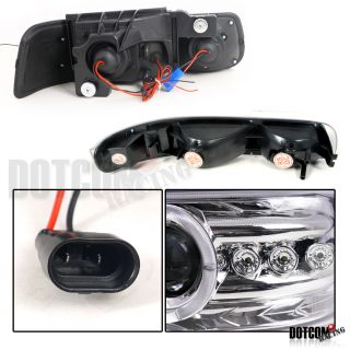 06 Tahoe Suburban Chrome LED Projector Headlights Bumper Lamp