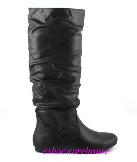 Cutie Chic Slouch Comfy Flat Knee Boots Black Leatherette