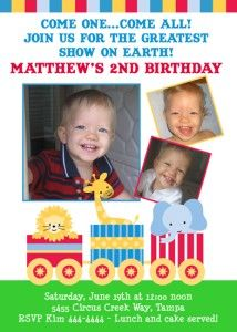 Carnival and Circus Themed Birthday Party Invitations