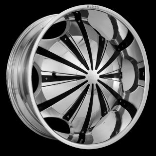 22 Starr 619 Slash Chrome Wheels Black Inserts Rims Tires Pkg 6 Lug