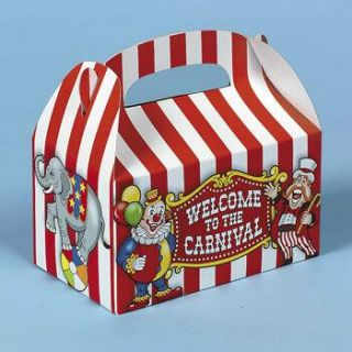 12 Big Top Circus Carnival Treat Boxes Dozen Birthday Clown Party