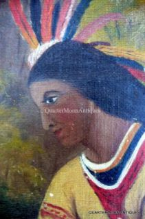Antique Painting of Native Americans Americana Folk Art 19th Century