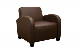 Modern Adonia Dark Brown Faux Leather Club Chair