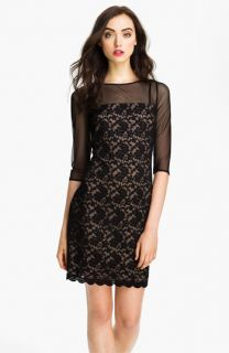 Adrianna Papell Illusion Yoke Lace & Mesh Dress