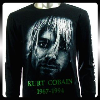 Nirvana Kurt Cobain Biker LS Long Sleeve T shirt Sz M Rider Rock Punk
