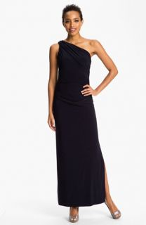 Betsy & Adam One Shoulder Shirred Jersey Gown