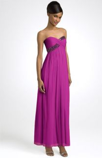 Maggy London Strapless Beaded Chiffon Empire Gown (Plus)