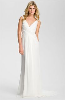 Nicole Miller V Neck Silk Gown