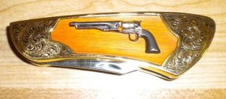 FRANKLIN MINT COLT FIREARM KNIFE 1860 Army Revolver Pocket Gun Knives