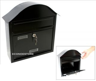 New Wall Mount Black Mail Box With 2 Keys Made Of Steel U3