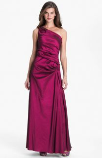 Hailey by Adrianna Papell One Shoulder Pleated Taffeta Gown