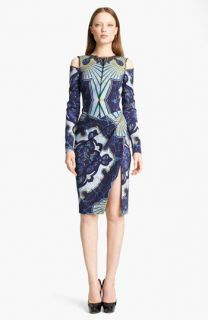 Emilio Pucci Cutout Shoulder Stretch Wool Dress