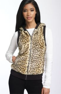 Juicy Couture Reversible Leopard Print Faux Fur Hooded Vest
