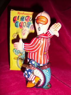 Vintage Mechanical Tin Toy Clown Riding A Unicycle Original Box