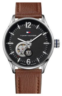 Tommy Hilfiger Automatic Leather Strap Watch