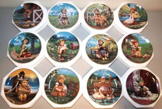 Complete Set 12 Danbury Mint Hummel Gentle Friends Collector Plates