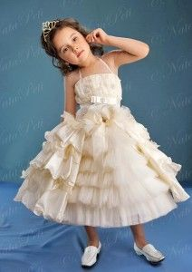 Flower Girl Pageant Party Holiday Dress 3791 Beige Size 4 6