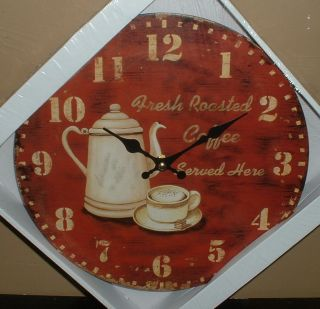 COFFEE CUP CAFE WALL CLOCK JAVA COFFEE POT CUP OF JOE FRESH ROASTED