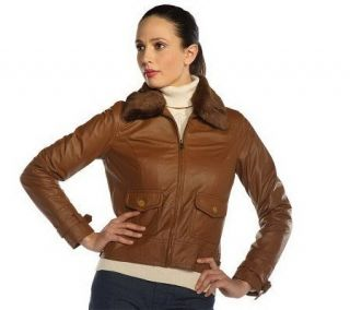 Isaac Mizrahi Live Nappa Leather Jacket with Faux Fur Collar