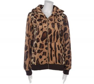 Dennis Basso Hooded Leopard Print Faux Fur Zip Jacket —