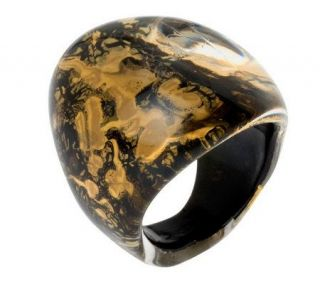 Bold Oval Murano Glass Ring with 18K GoldFoil —
