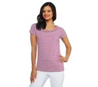 Isaac Mizrahi Live Short Sleeve Sriped T Shirt and Rope Detail