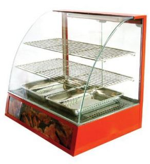 Countertop Heated Curved Glass Food Display Warmer Cabinet