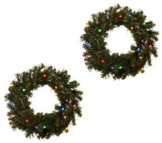 Bethlehem Lights Solutions Set of Two 16 Wreaths w/Timer   H168856