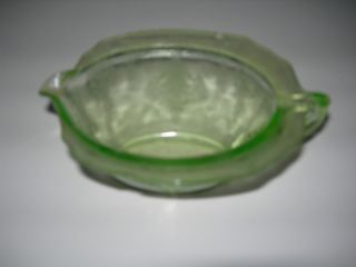 Vintage Depression Green Glass Pitcher Creamer Princess Pattern Mint