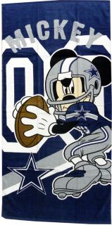 Dallas Cowboys NFL Disney Mickey Mouse Quarterback Beach Towel 30 x