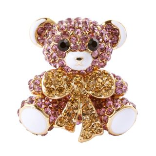 FASHION JEWELRY Cute Bear Shape Purple Color 18K Gold Plated Brooch