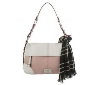 Isaac Mizrahi Live Pebble Leather Shopper With Scarf   A213773
