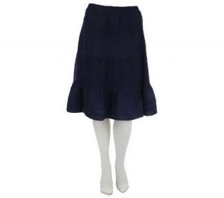 Isaac Mizrahi Live Pull On Skirt with Lace Detail —