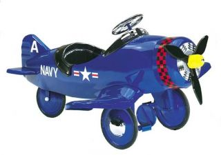 New Childrens Kids Ride on Corsair Blue Pedal Plane Car Toy WWII