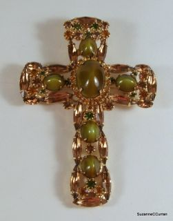 Cats Eye Glass Topaz Navette Rhinestone Cross Brooch Pendant