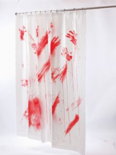 Bloody Hands Shower Curtain Psycho Halloween Prop New