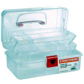 12 inch Plastic Art Supply Craft Storage Tool Box Semi Clear P