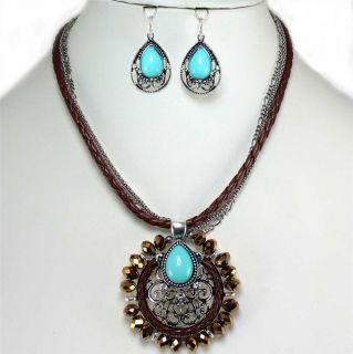 Turquoise Bronze Crystal Pendant Necklace Set Costume Jewelry