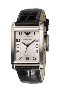 Emporio Armani Large Rectangular Leather Strap Watch