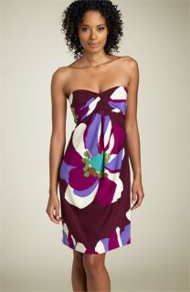 Nicole Miller Tropical Print Strapless Dress