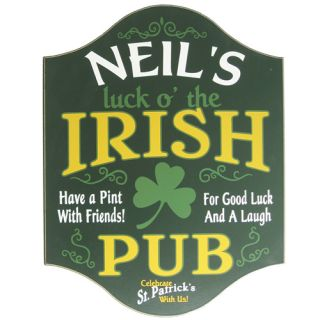Wooden Irish Pub Sign St Patricks Home Bar Man Cave Plaque