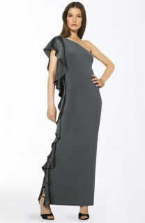 Lauren by Ralph Lauren Ruffled One Shoulder Gown