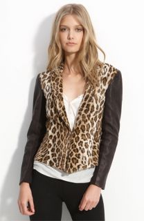 Elizabeth and James Leather Sleeve Leopard Print Faux Fur Blazer