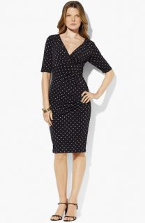 Lauren Ralph Lauren Ruched Polka Dot Jersey Sheath Dress (Petite)