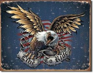 1441 Metal Tin Sign Live to Ride Harley Davidson Eagle Motorcycle Made