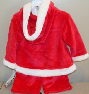 Little Wonder Girls Baby Infant Red First Santa Pant Set Christmas 3 6