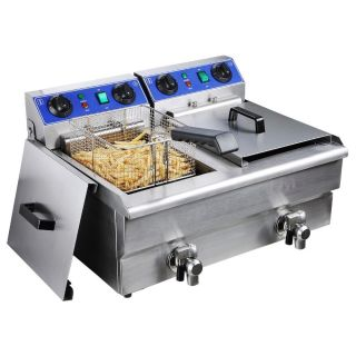 Commercial Electric 20L Deep Fryer w/ Timer and Drain Stainless Steel