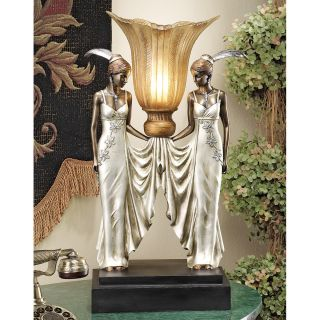 Art Deco Torchiere Twin Maidens Feathered Headdresses Gallery Desk