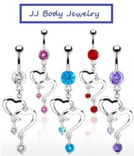 Romantic Navel Belly Ring Double Heart Dangle CZ